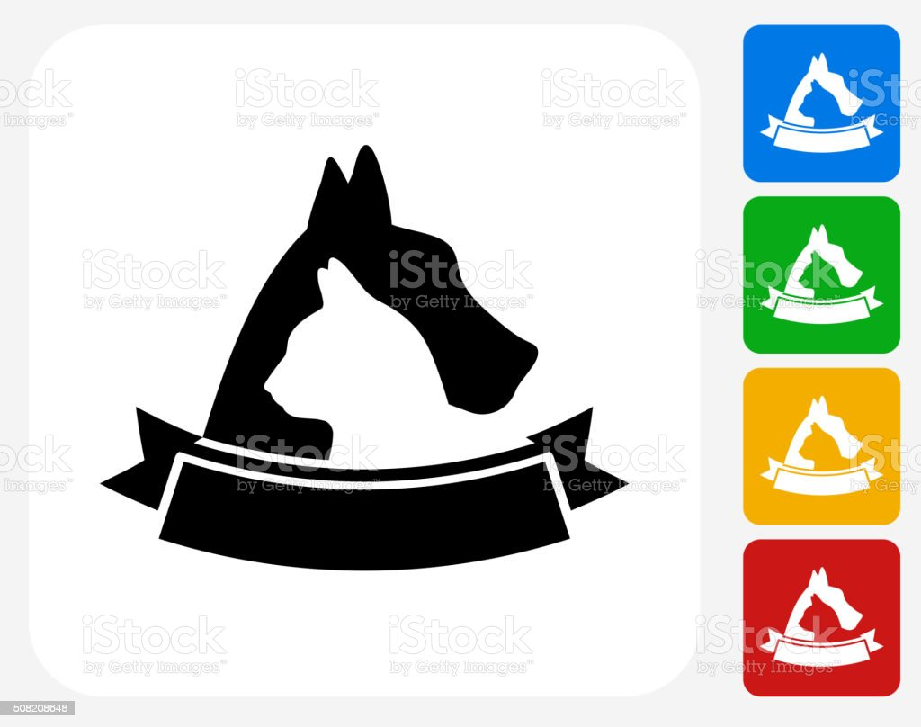 Dog and Cat Badge Icon Flat Graphic Design vector art illustration