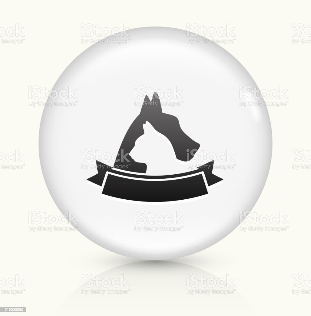 Dog and Cat Badge icon on white round vector button vector art illustration