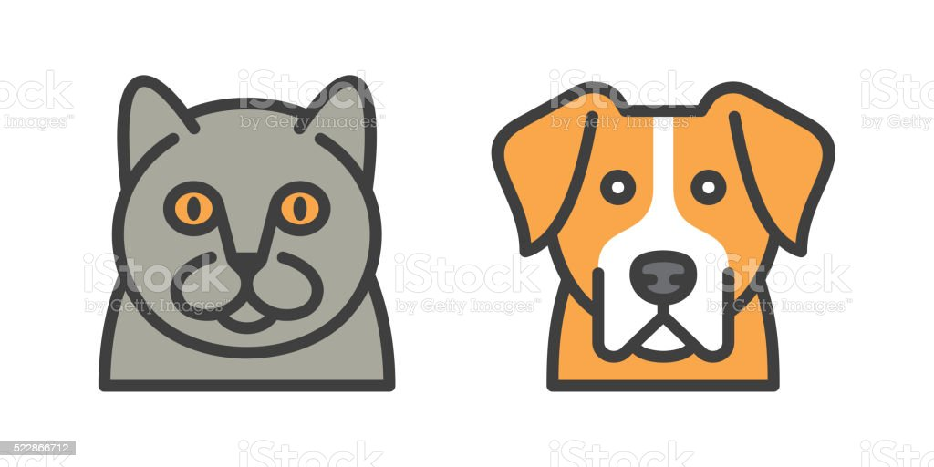 dog and cat icons vector art illustration