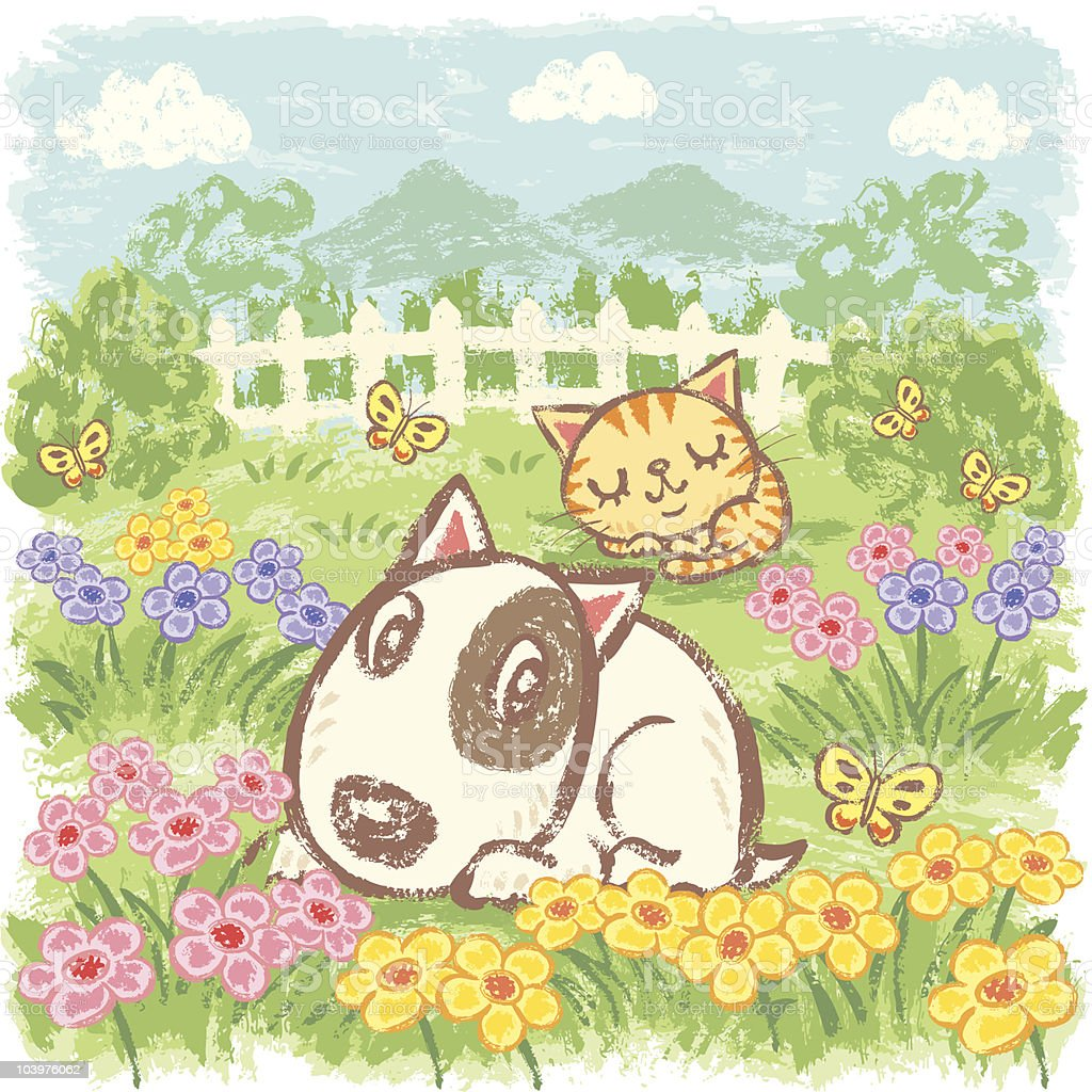 Dog and Cat in garden vector art illustration
