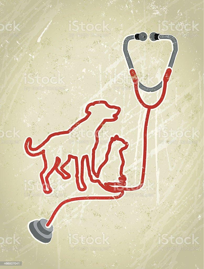 Dog and Cat Medical Veteriniary Stethoscope Illustration vector art illustration