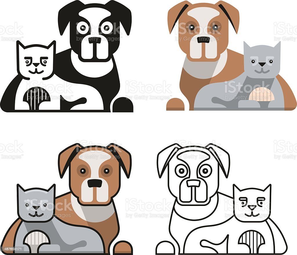 Dog and Cat Together vector art illustration