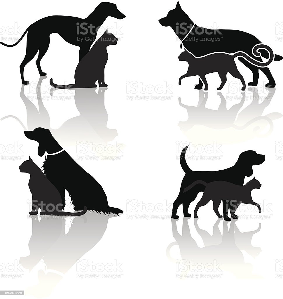 Dog and Cat Veterinary Icons vector art illustration