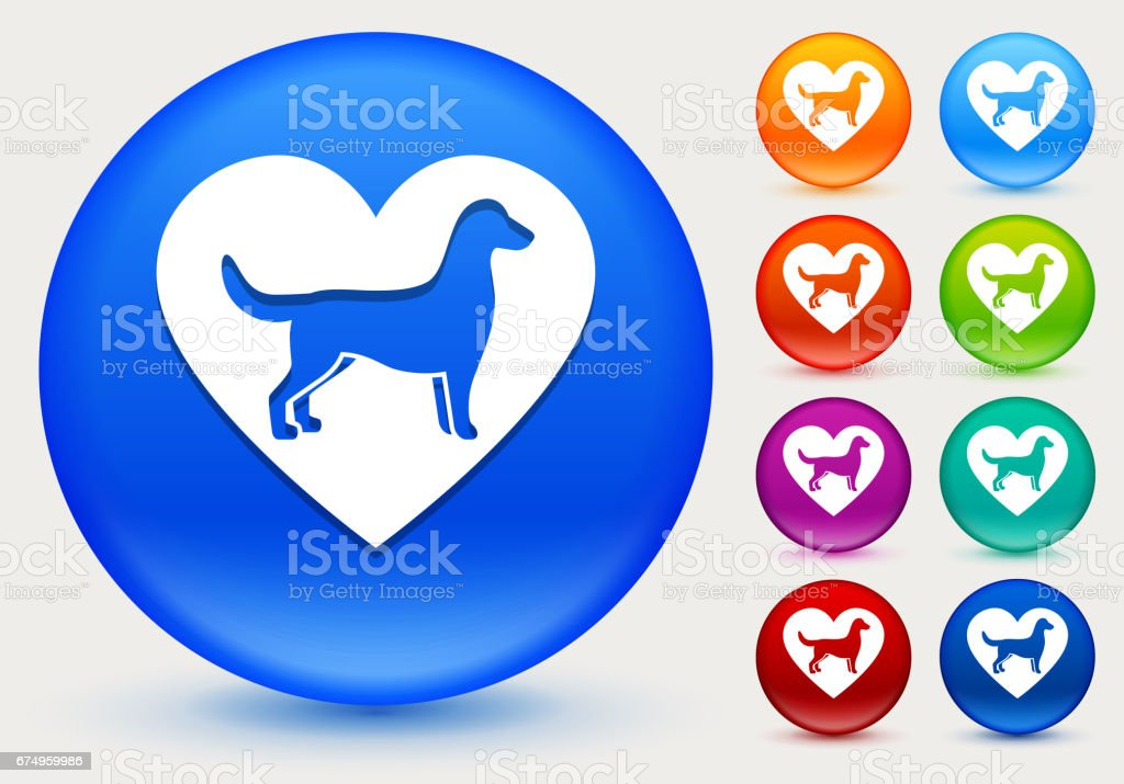 Dog and Heart Icon on Shiny Color Circle Buttons vector art illustration