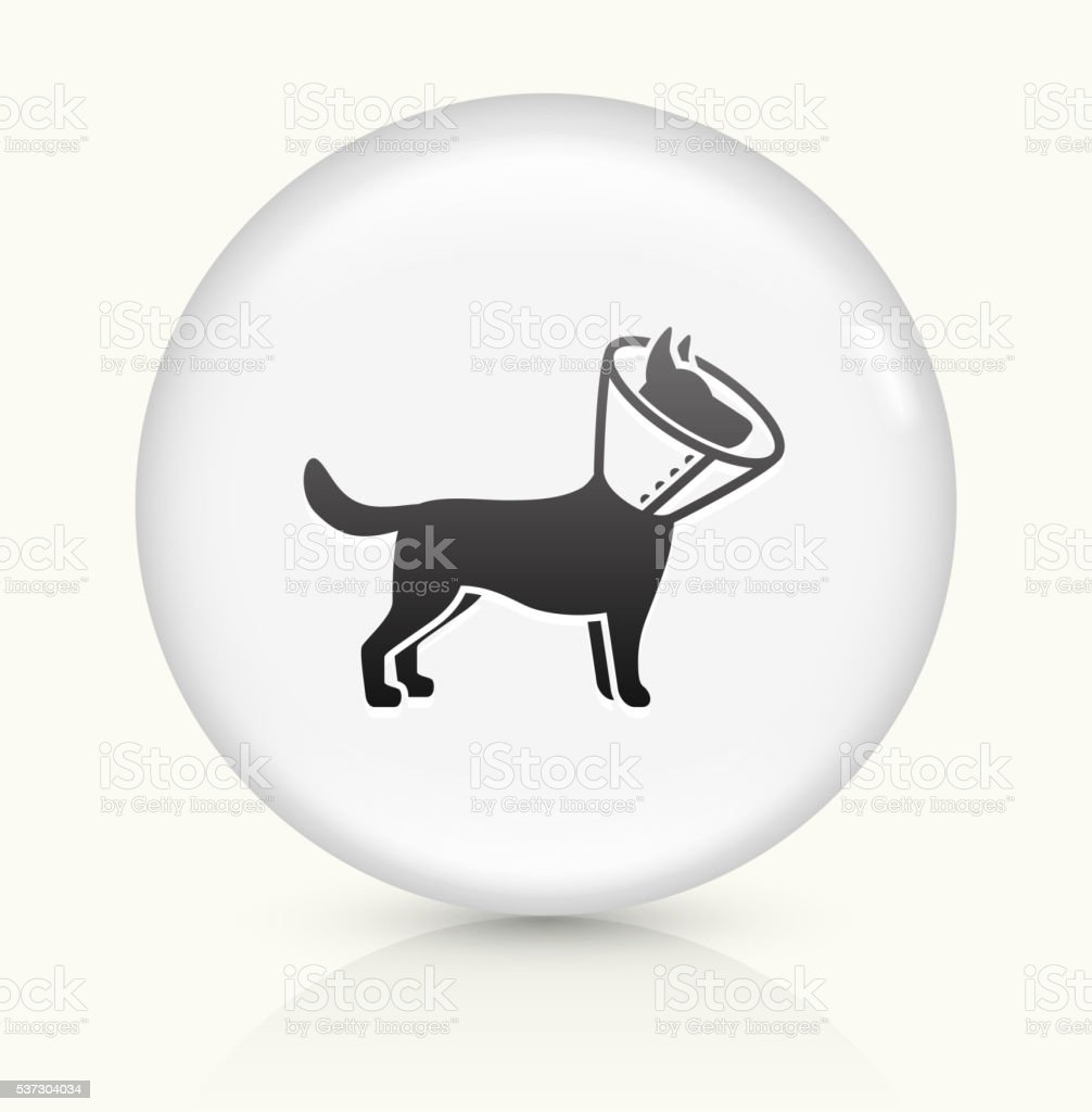 Dog and Neck Cone icon on white round vector button vector art illustration