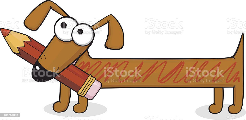 Dog and pencil royalty-free stock vector art