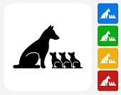 Dog and Puppies Icon Flat Graphic Design