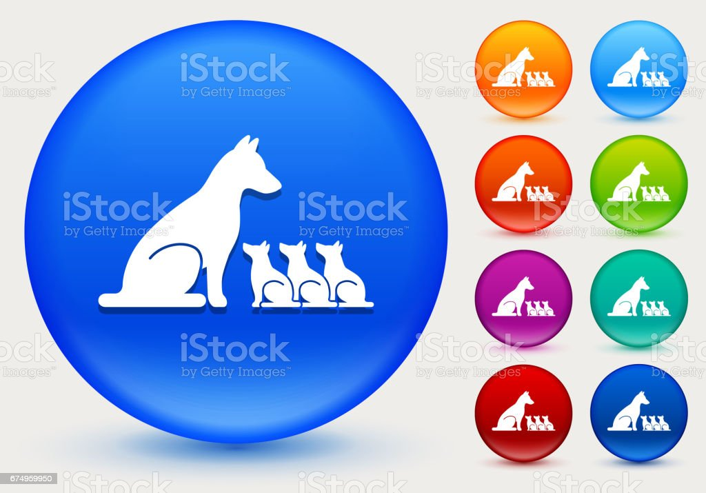 Dog and Puppies Icon on Shiny Color Circle Buttons vector art illustration
