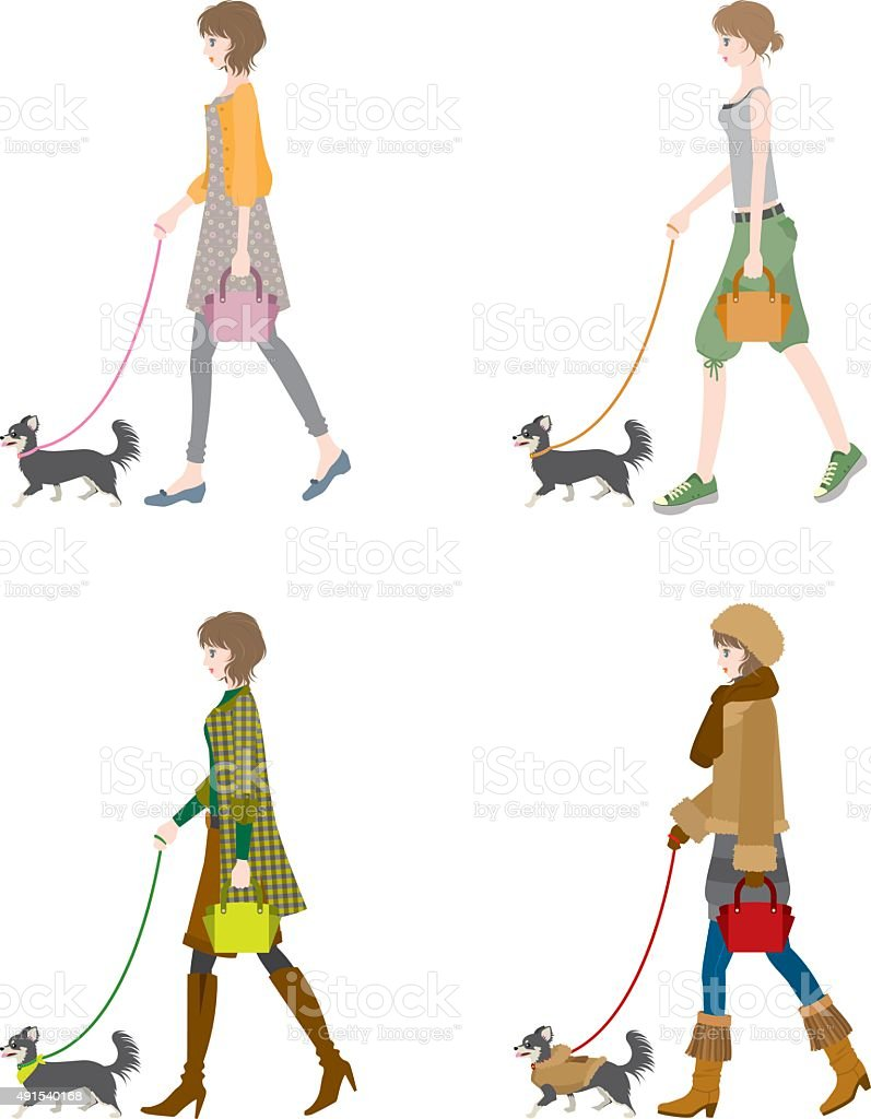 Dog and the lady who takes a walk vector art illustration