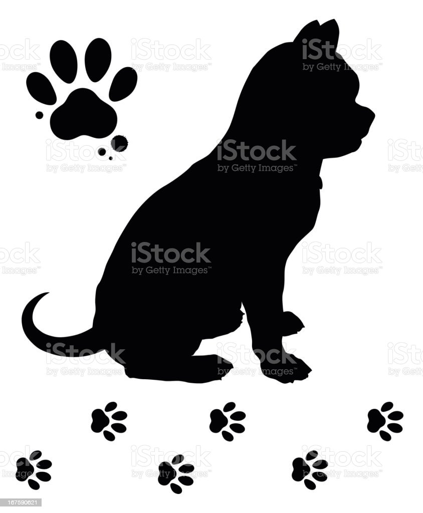 Dog and tracks royalty-free stock vector art