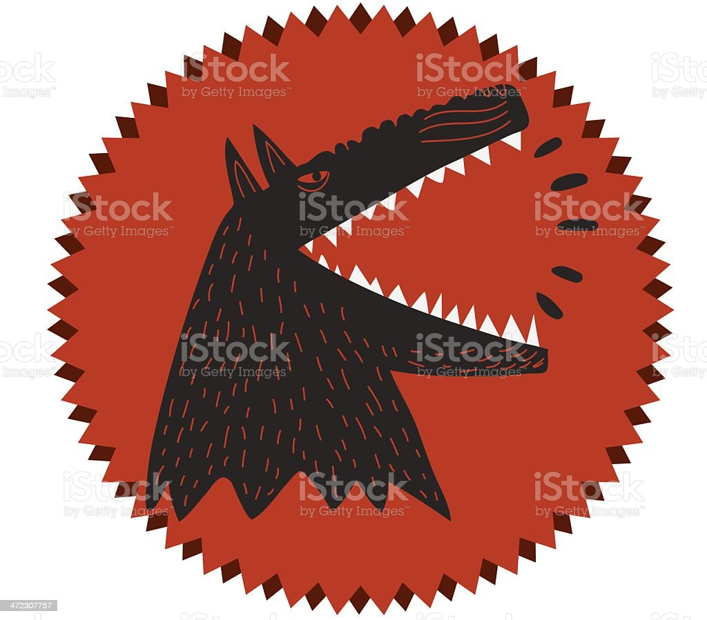 dog barking in a round shape royalty-free stock vector art