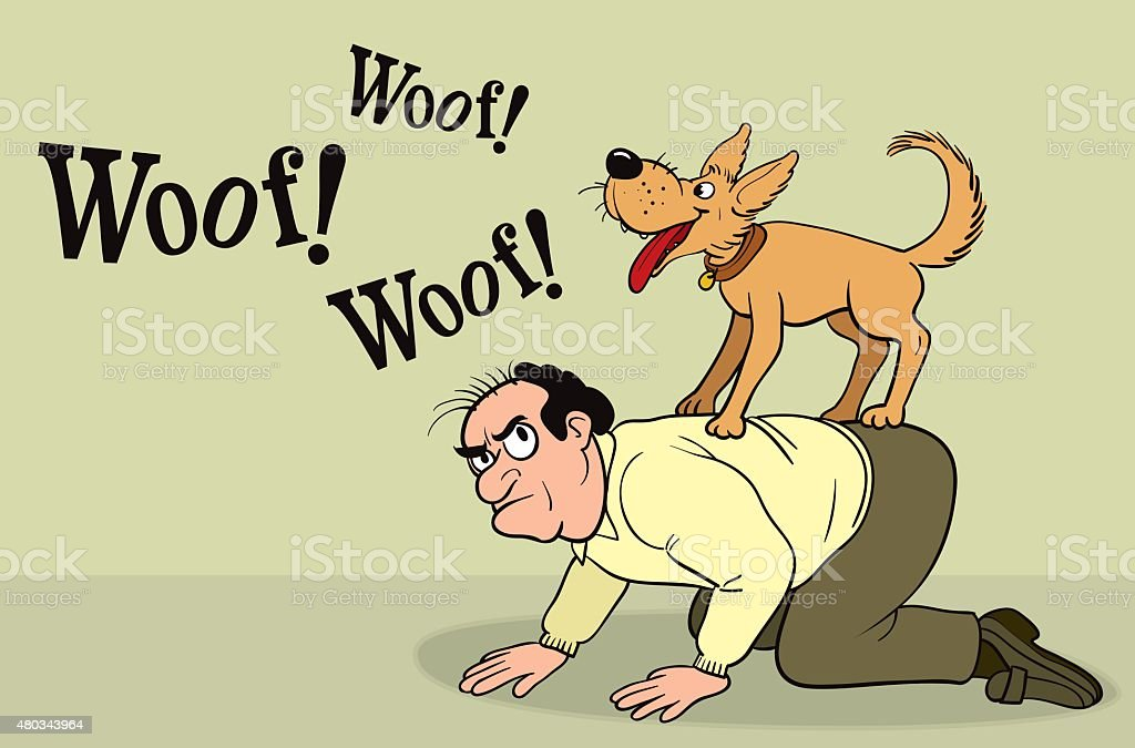Dog barking on the back of the owner vector art illustration