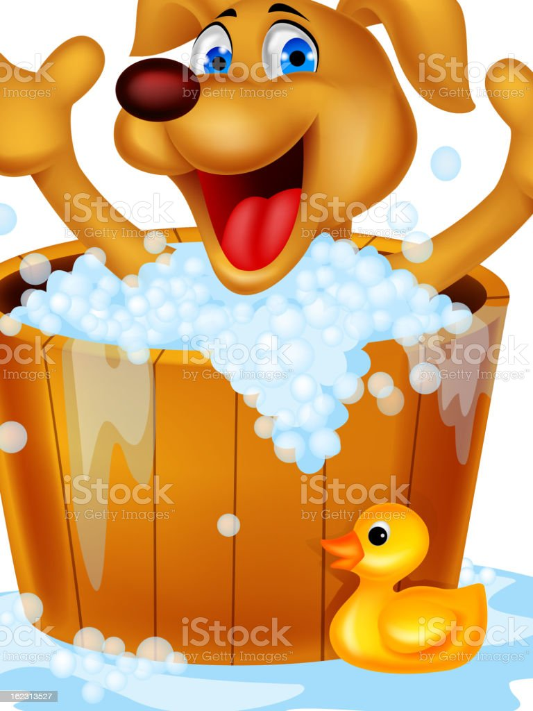 Dog bathing time royalty-free stock vector art