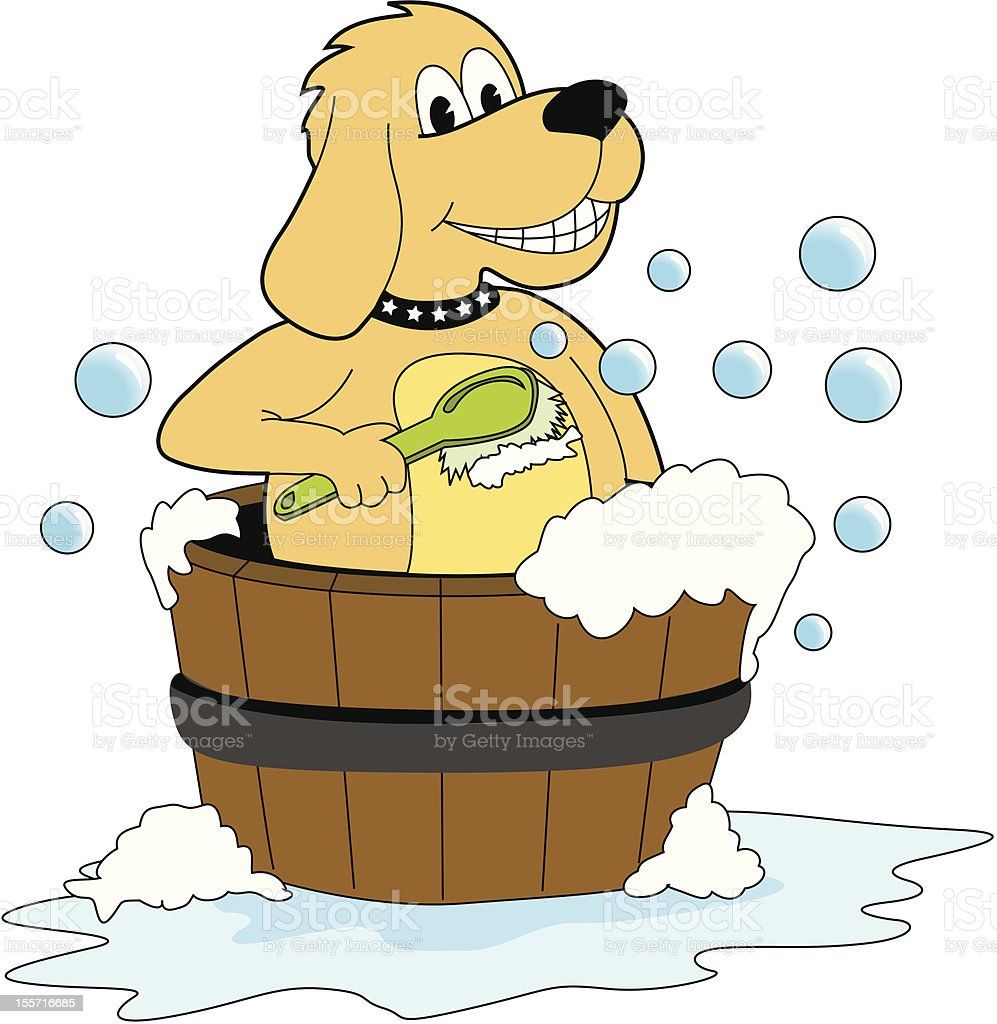 Dog bathing vector art illustration