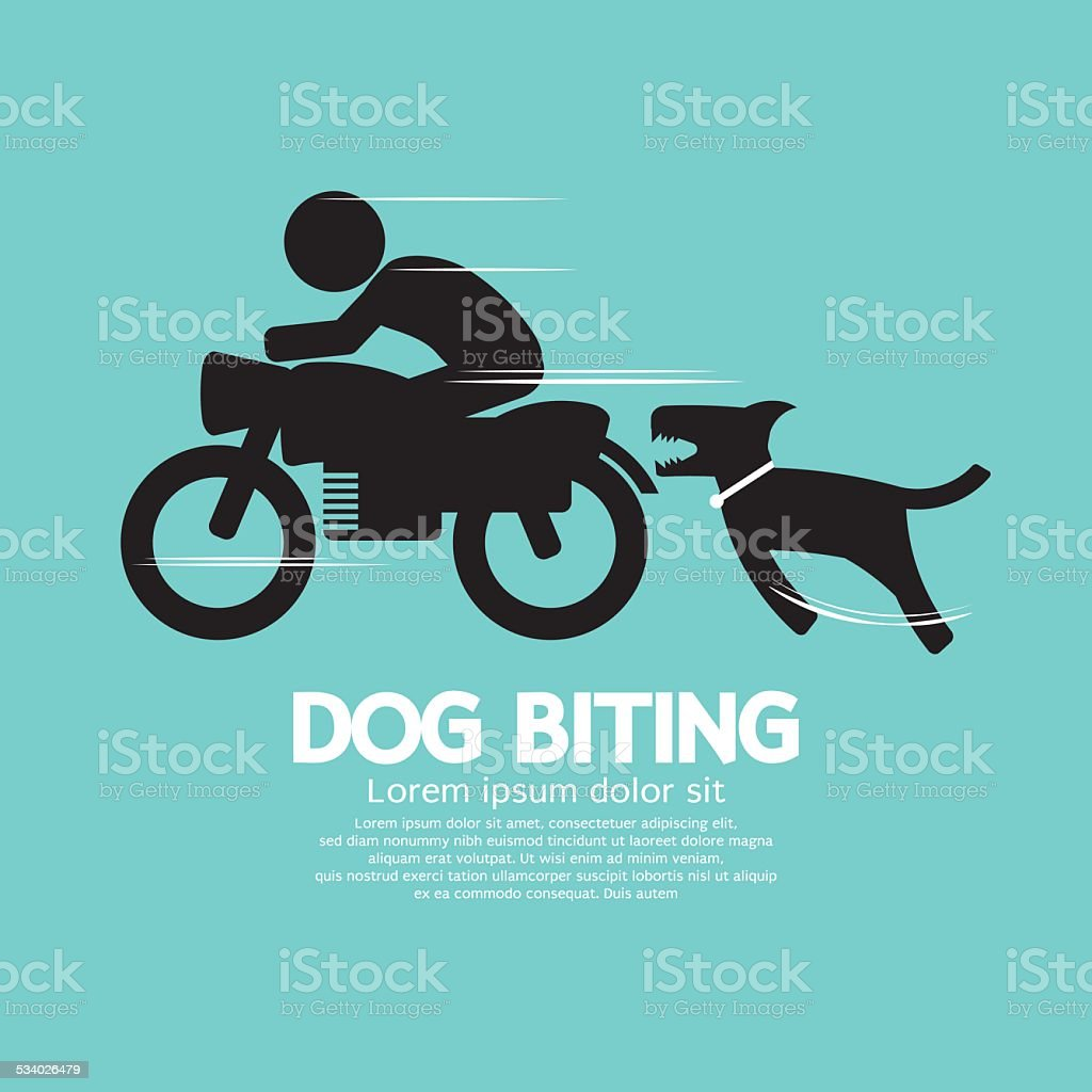 Dog Biting A Man On A Motorcycle vector art illustration