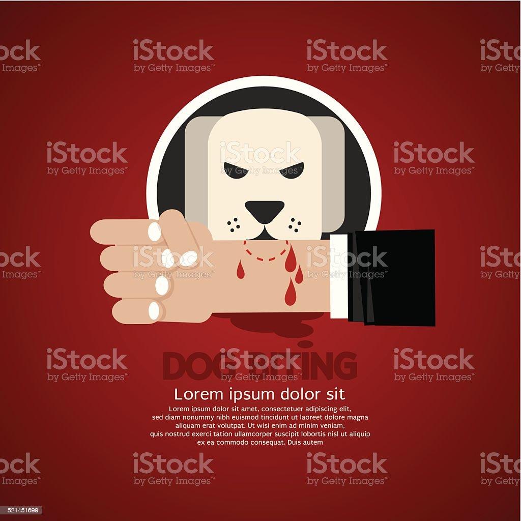 Dog Biting On Hand Vector Illustration vector art illustration