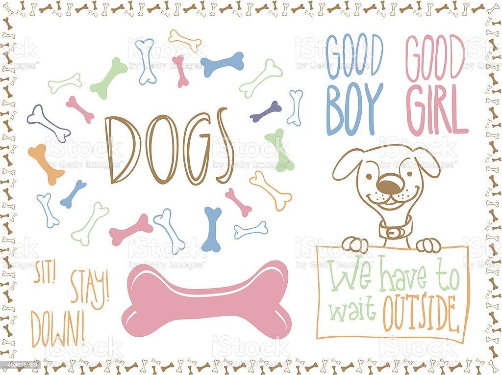 dog, bones and type vector art illustration