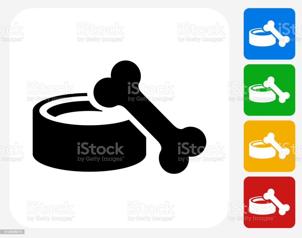Dog Bowl and Bone Icon Flat Graphic Design vector art illustration