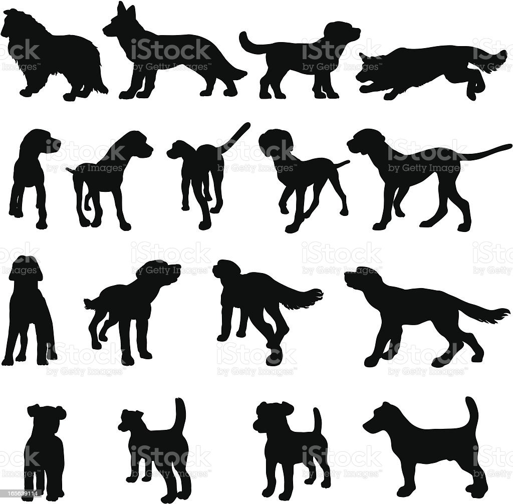 Dog breed silhouettes royalty-free stock vector art