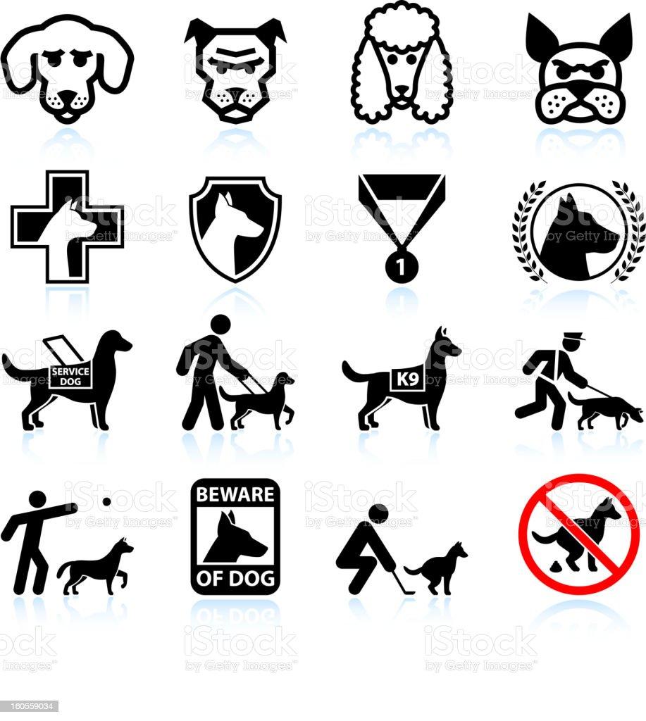 Dog breeds black and white icon set vector art illustration