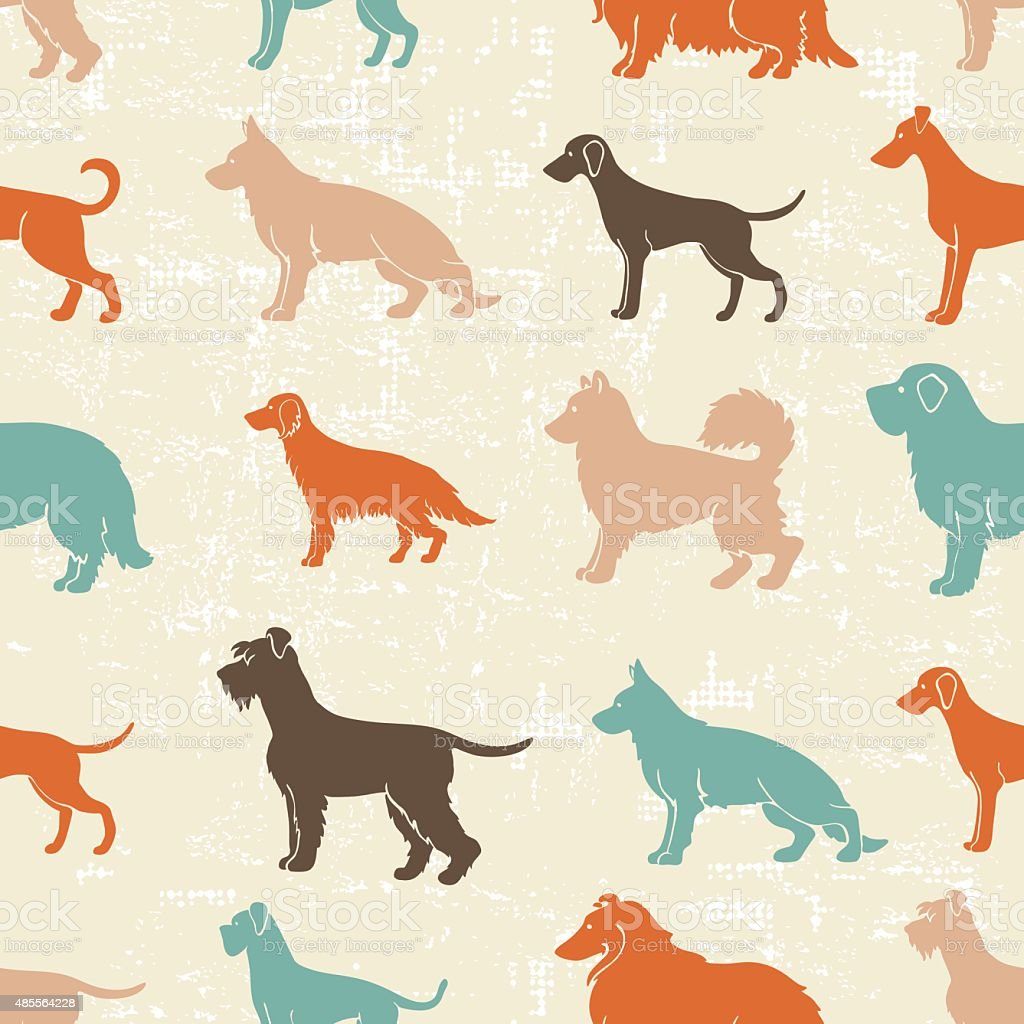 Dog breeds seamless pattern vector art illustration