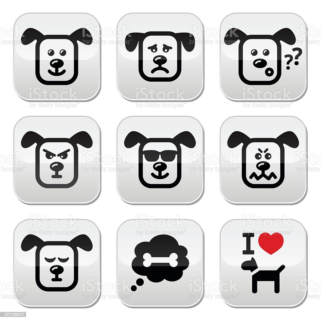 Dog buttons set - happy, sad, angry isolated on white vector art illustration