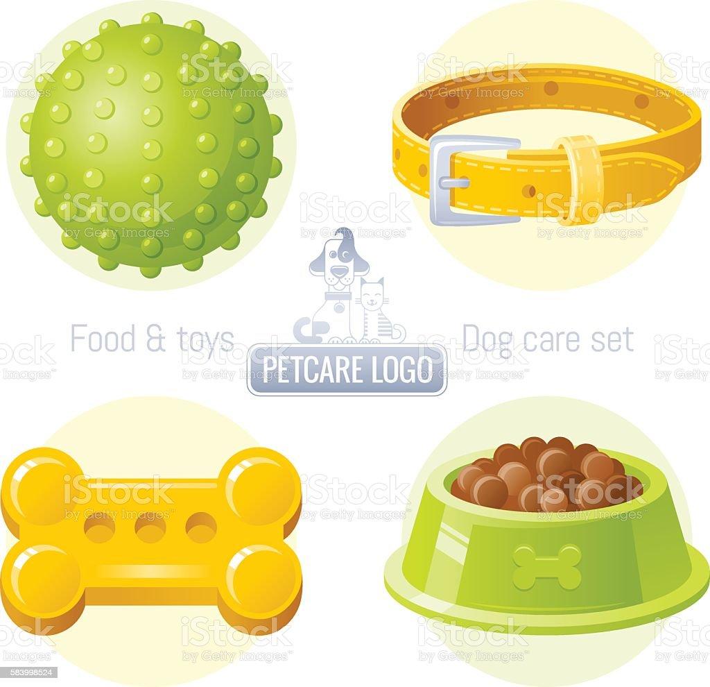 Dog care vector icon set with logo design vector art illustration