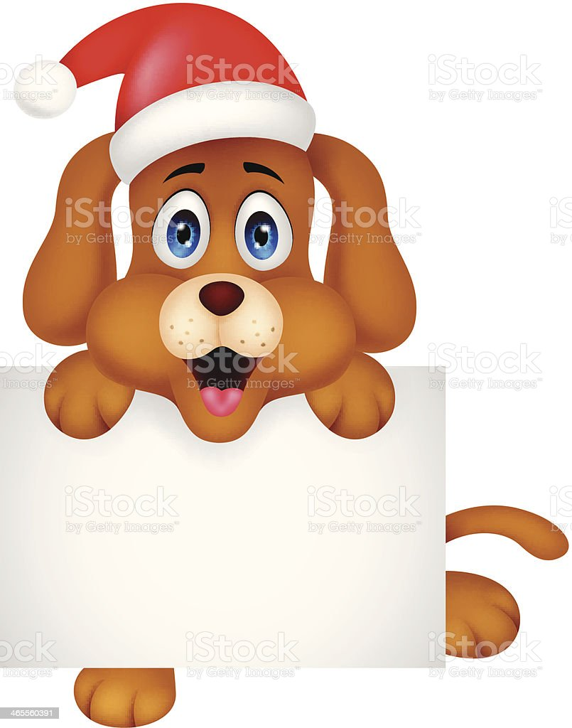 Dog cartoon christmas with blank sign royalty-free stock vector art