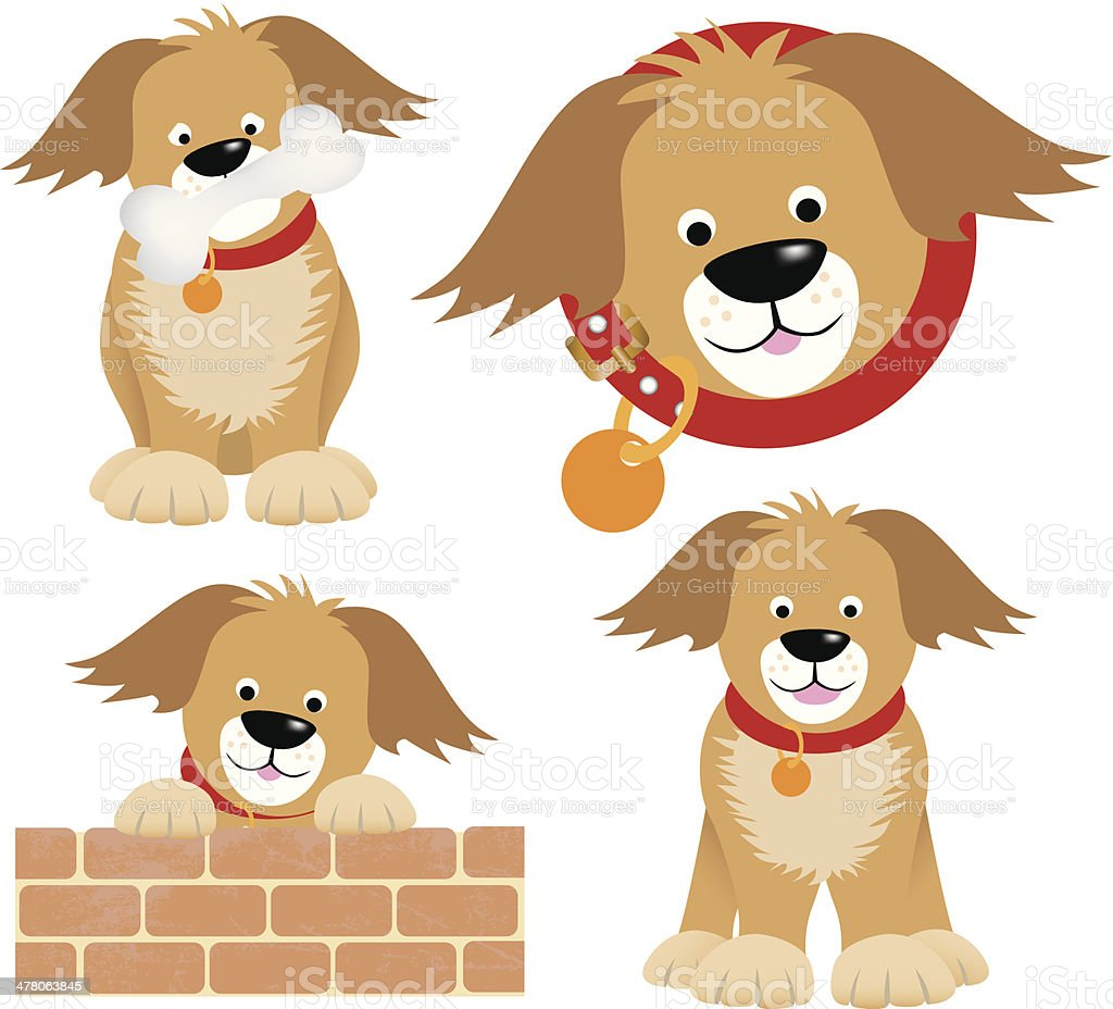 dog cartoon selection of positions royalty-free stock vector art