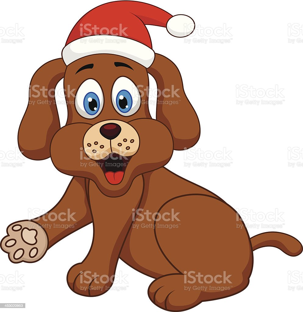 dog cartoon with Christmas red hat royalty-free stock vector art