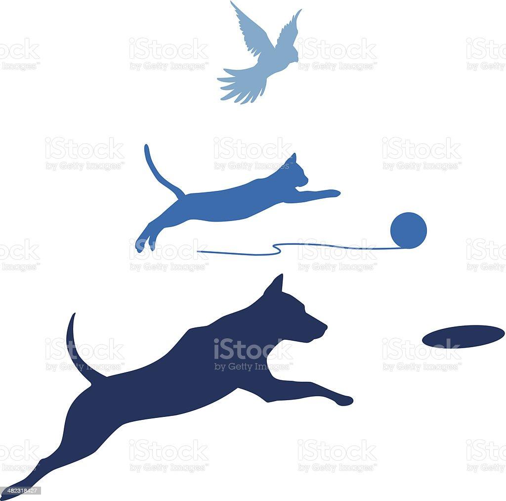Dog Cat Bird Jump vector art illustration