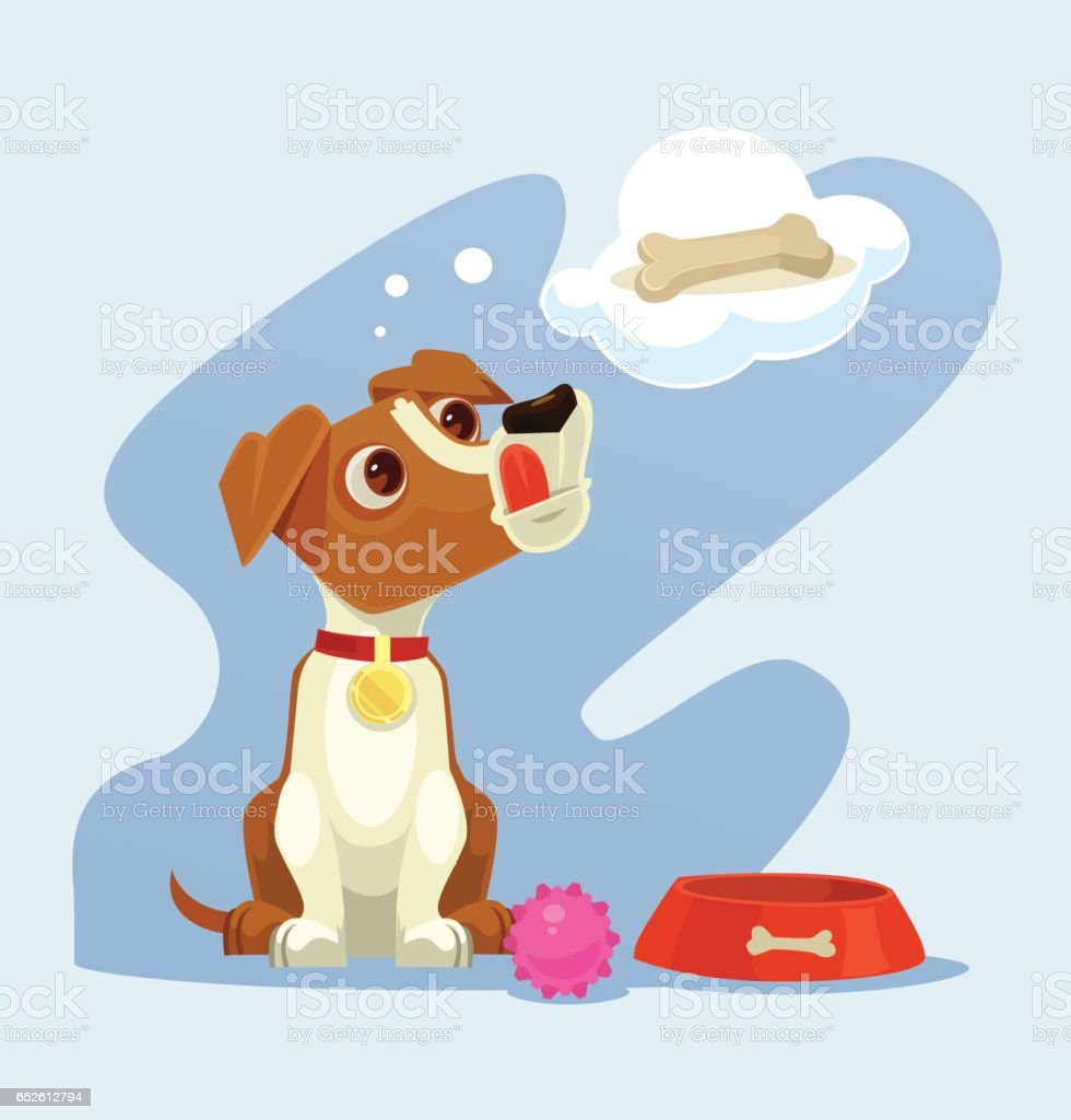Dog character dreaming about bone vector art illustration