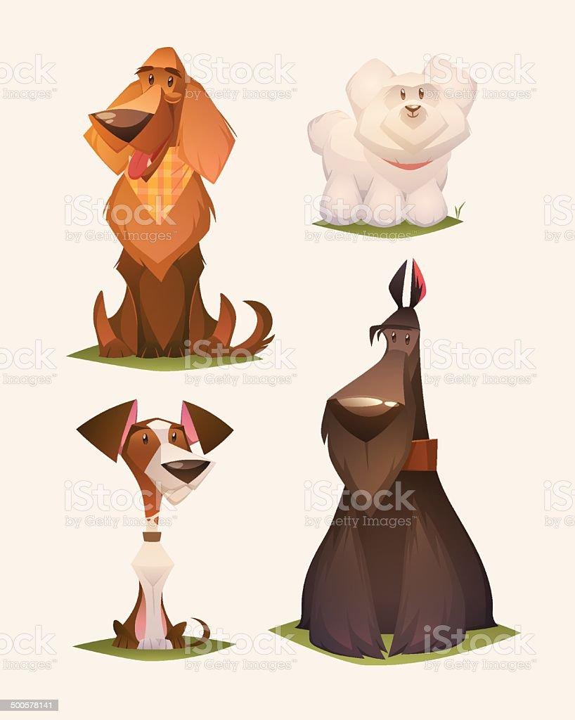 Dog characters. Cartoon vector illustration. vector art illustration