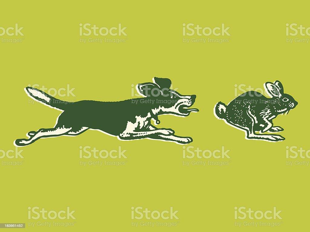 Dog Chasing a Rabbit vector art illustration