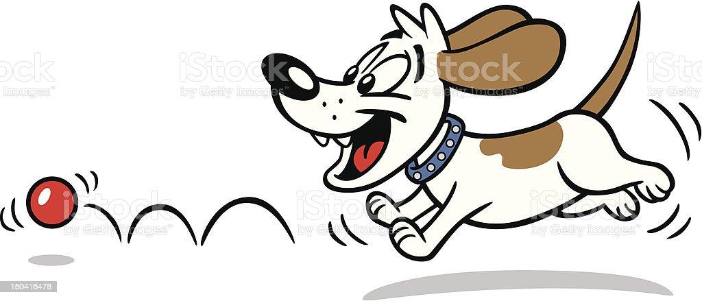 Dog Chasing Ball vector art illustration