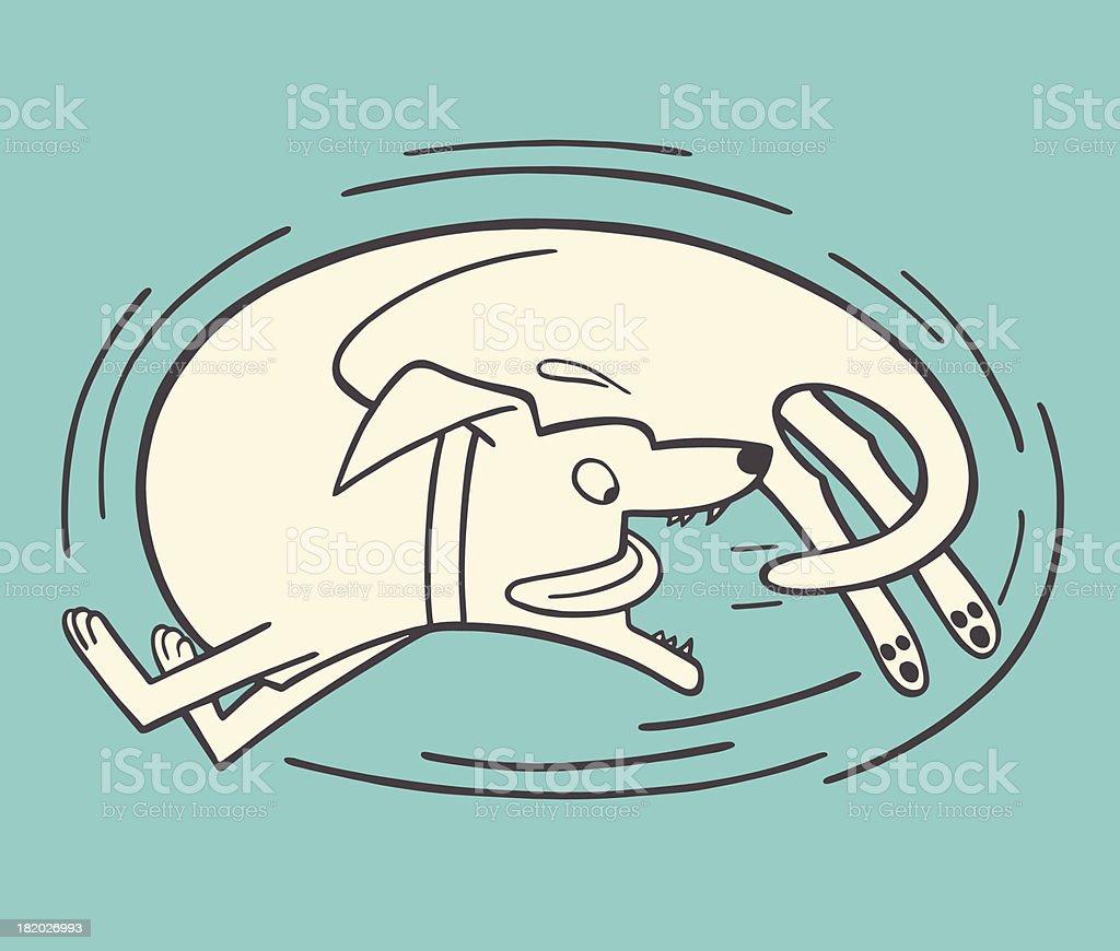 Dog Chasing Its Tail vector art illustration