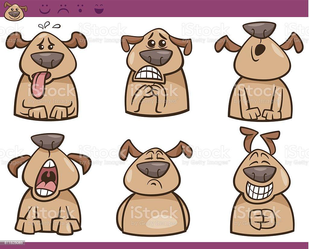 dog emotions cartoon illustration set vector art illustration