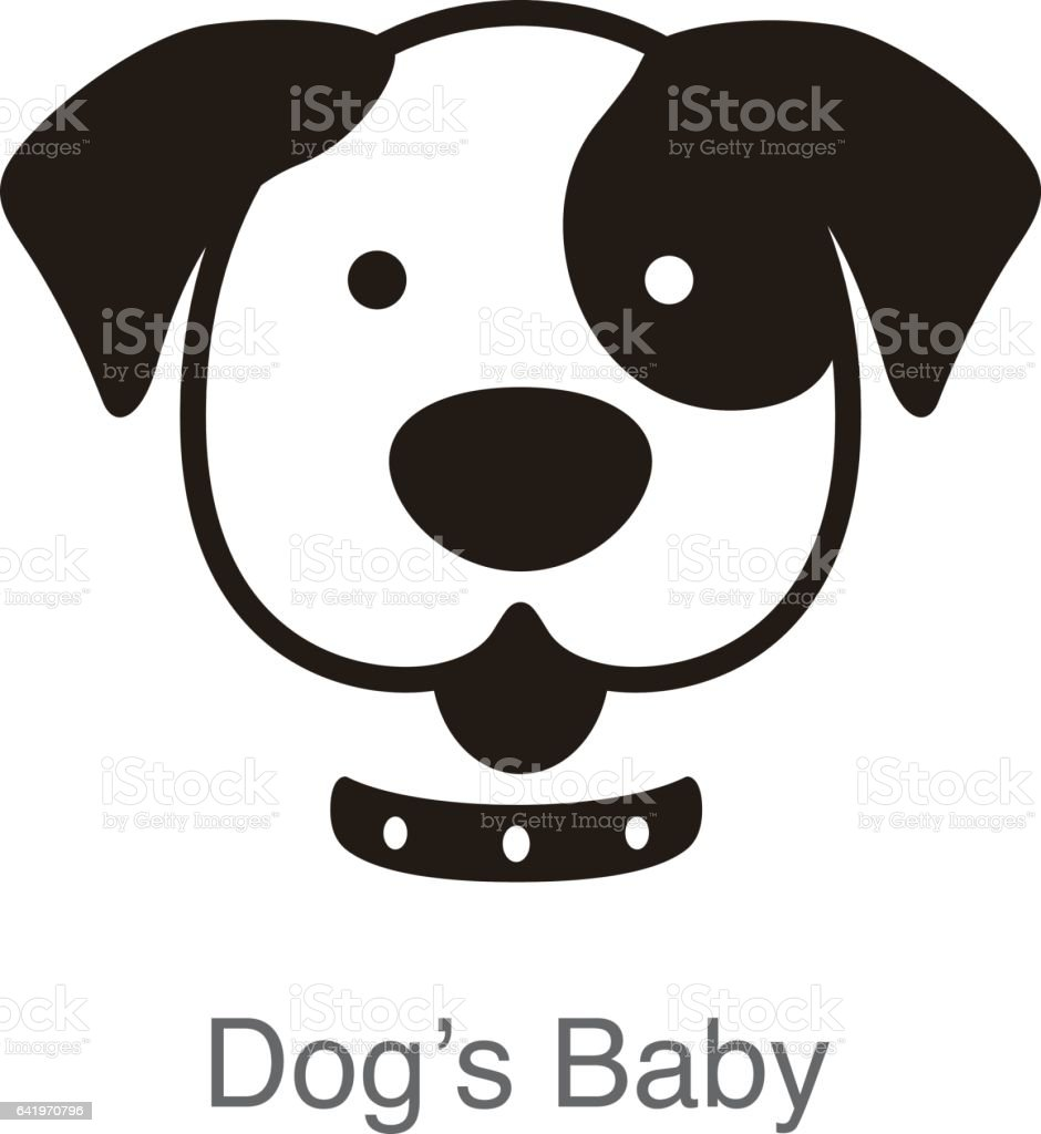 dog face, front view vector vector art illustration