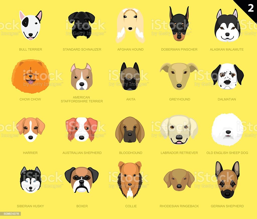 Dog Faces Icon Cartoon 2 vector art illustration