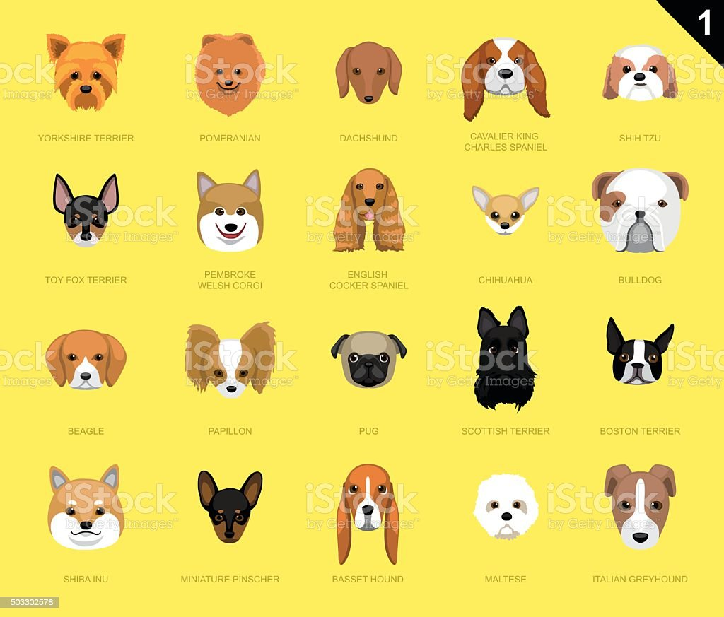 Dog Faces Icon Cartoon vector art illustration