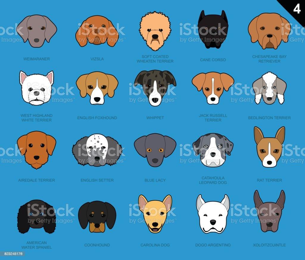 Dog Faces Stroke Icon Cartoon 4 vector art illustration