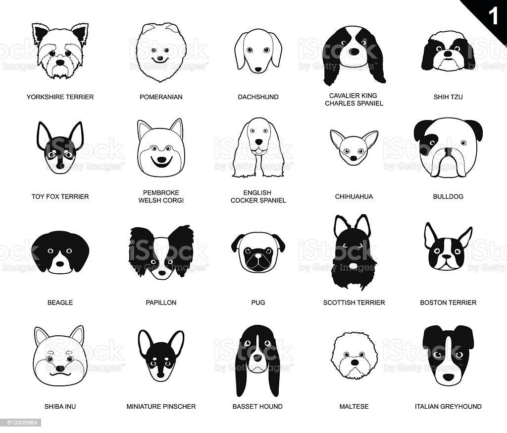 Dog Faces Stroke Monochrome Icon Cartoon vector art illustration