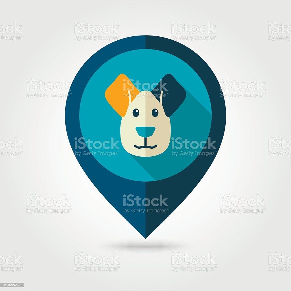 Dog flat pin map icon. Animal head vector vector art illustration