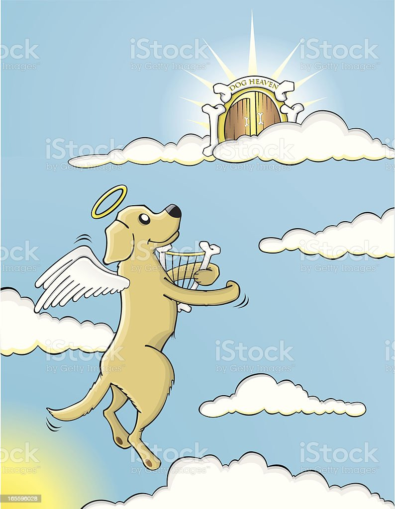 Dog flying up to heaven vector art illustration