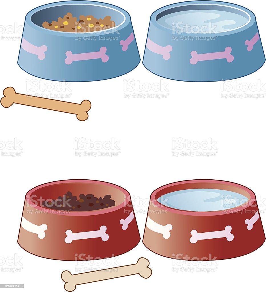 Dog Food Bowls royalty-free stock vector art