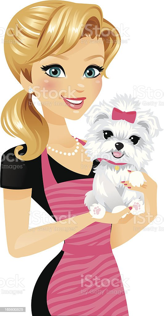 Dog Groomer Girl vector art illustration