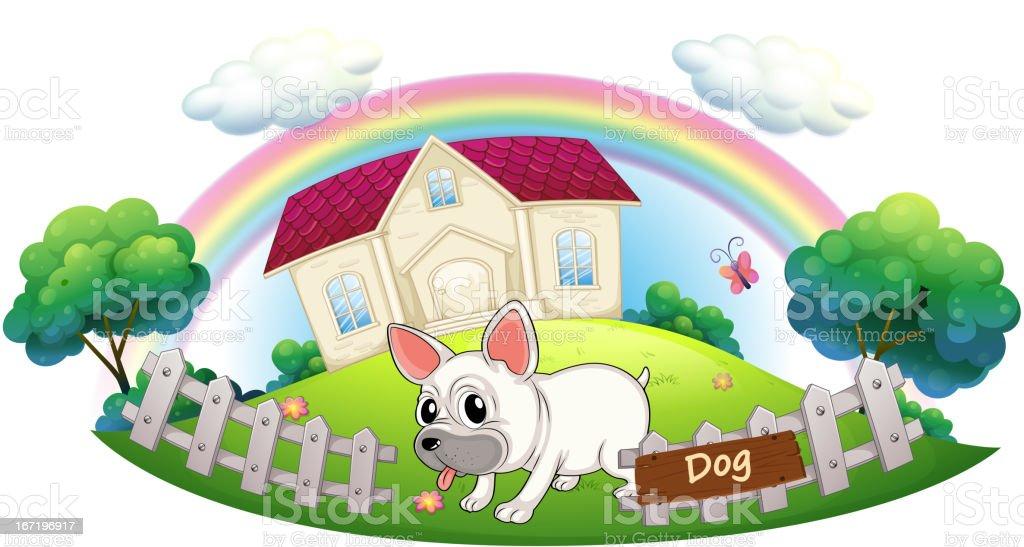 Dog guarding a house royalty-free stock vector art