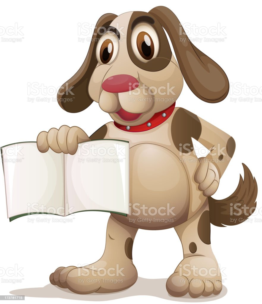 Dog holding an empty book royalty-free stock vector art