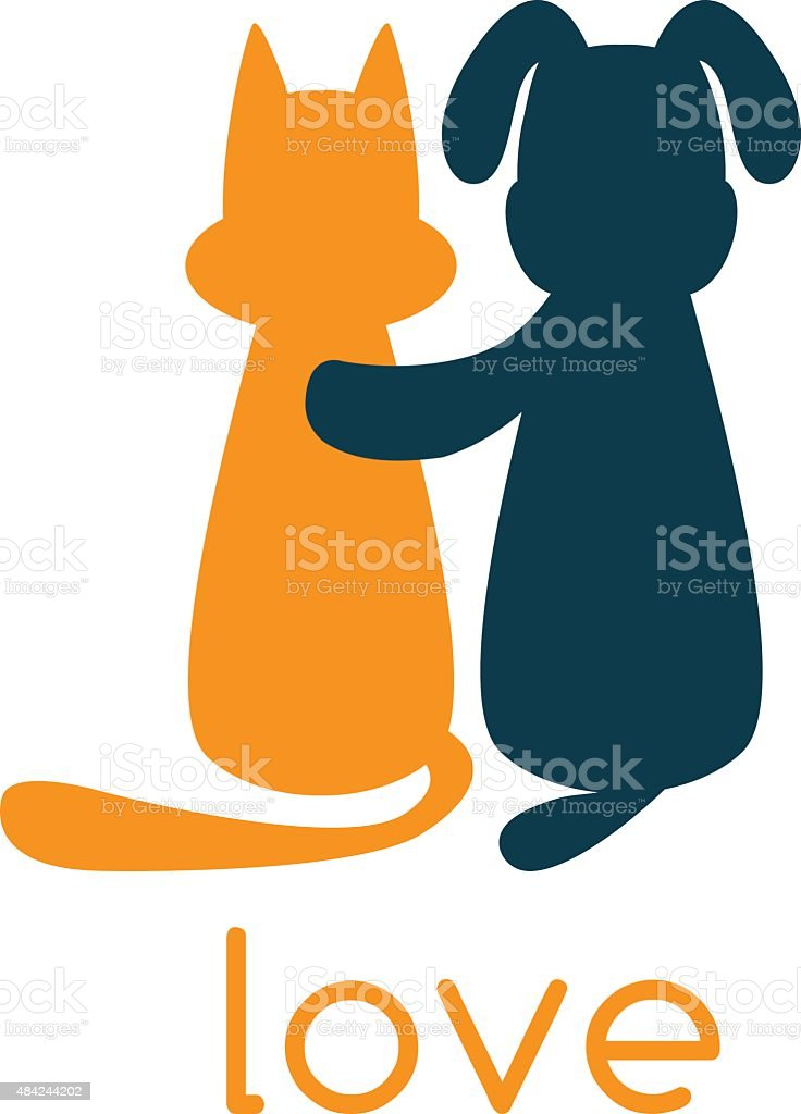 dog hugging cat with love vector art illustration