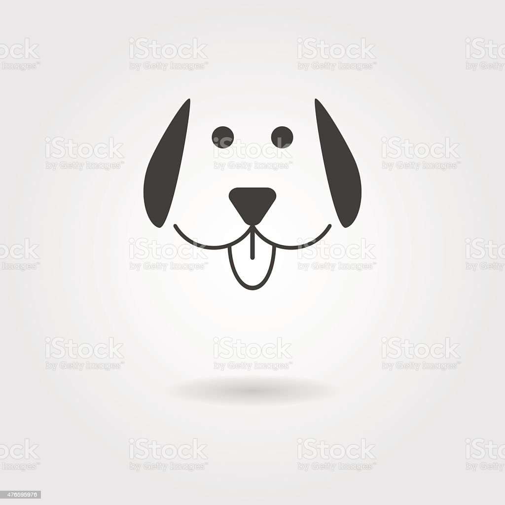 dog icon with shadow vector art illustration